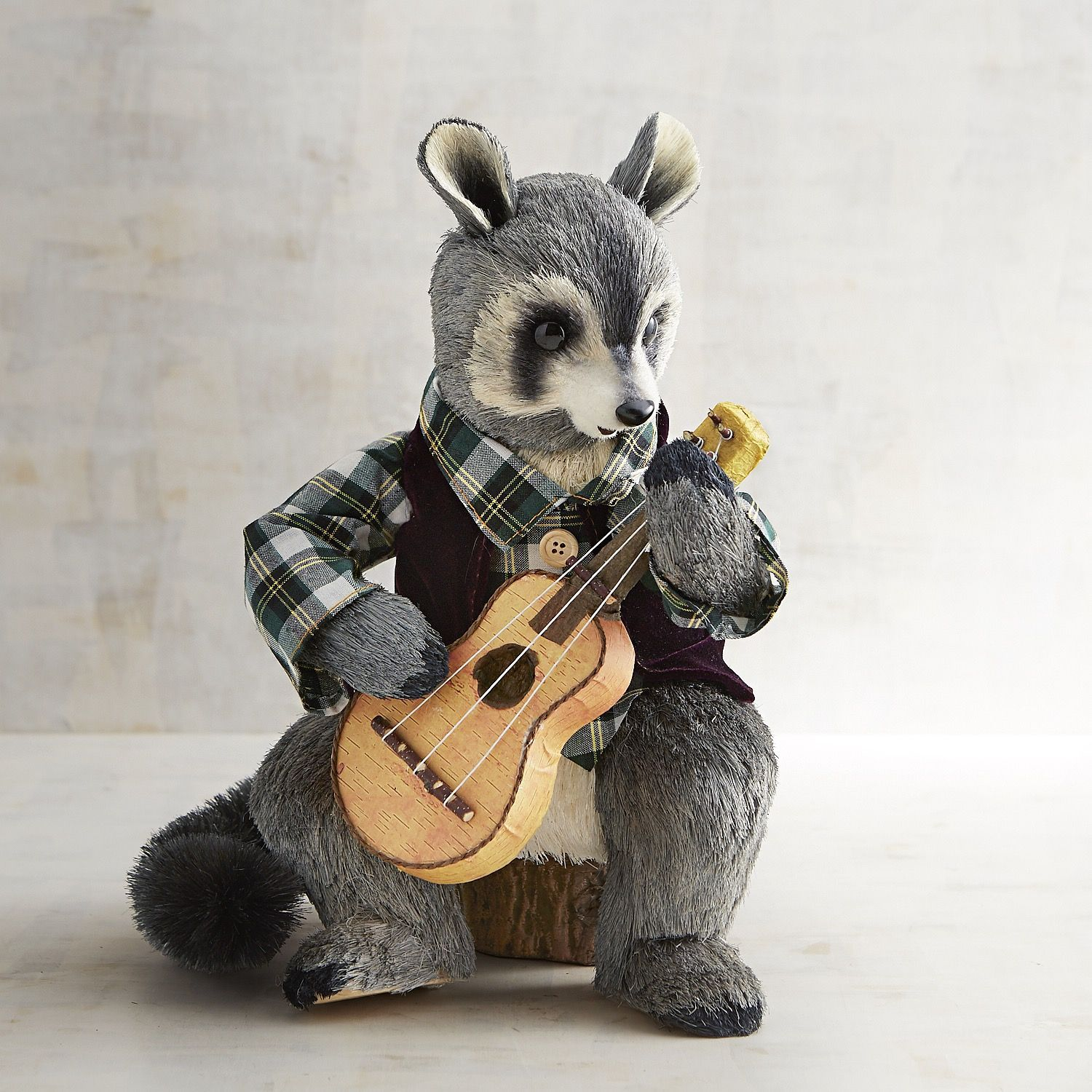 Huey The Natural Guitar Playing Raccoon Gray
