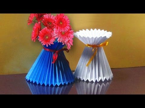 How To Make A Paper Flower Vase - DIY Simple Paper Craft - YouTube  sc 1 st  Pinterest & How To Make A Paper Flower Vase - DIY Simple Paper Craft - YouTube ...
