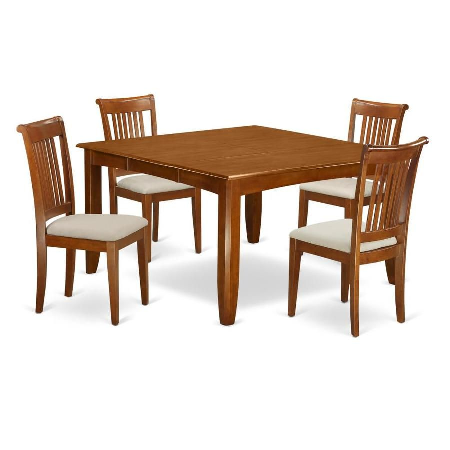 East West Furniture Parfait Saddle Brown Dining Set With Table