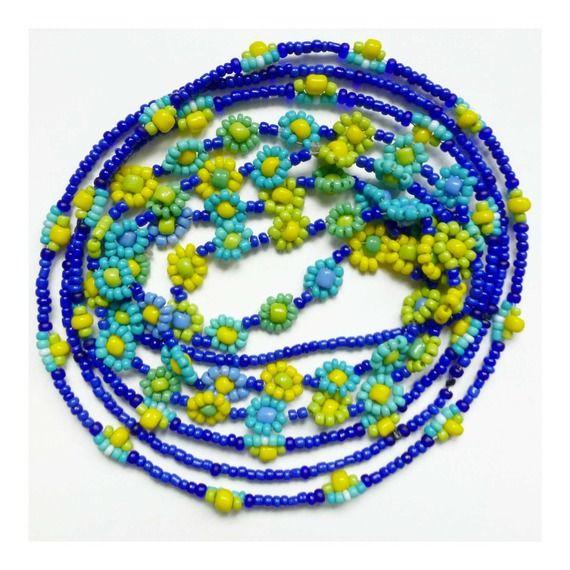 2 Colliers * PETITES FLEURS * jaune, vert, turquoise et bleu en perles rocailles