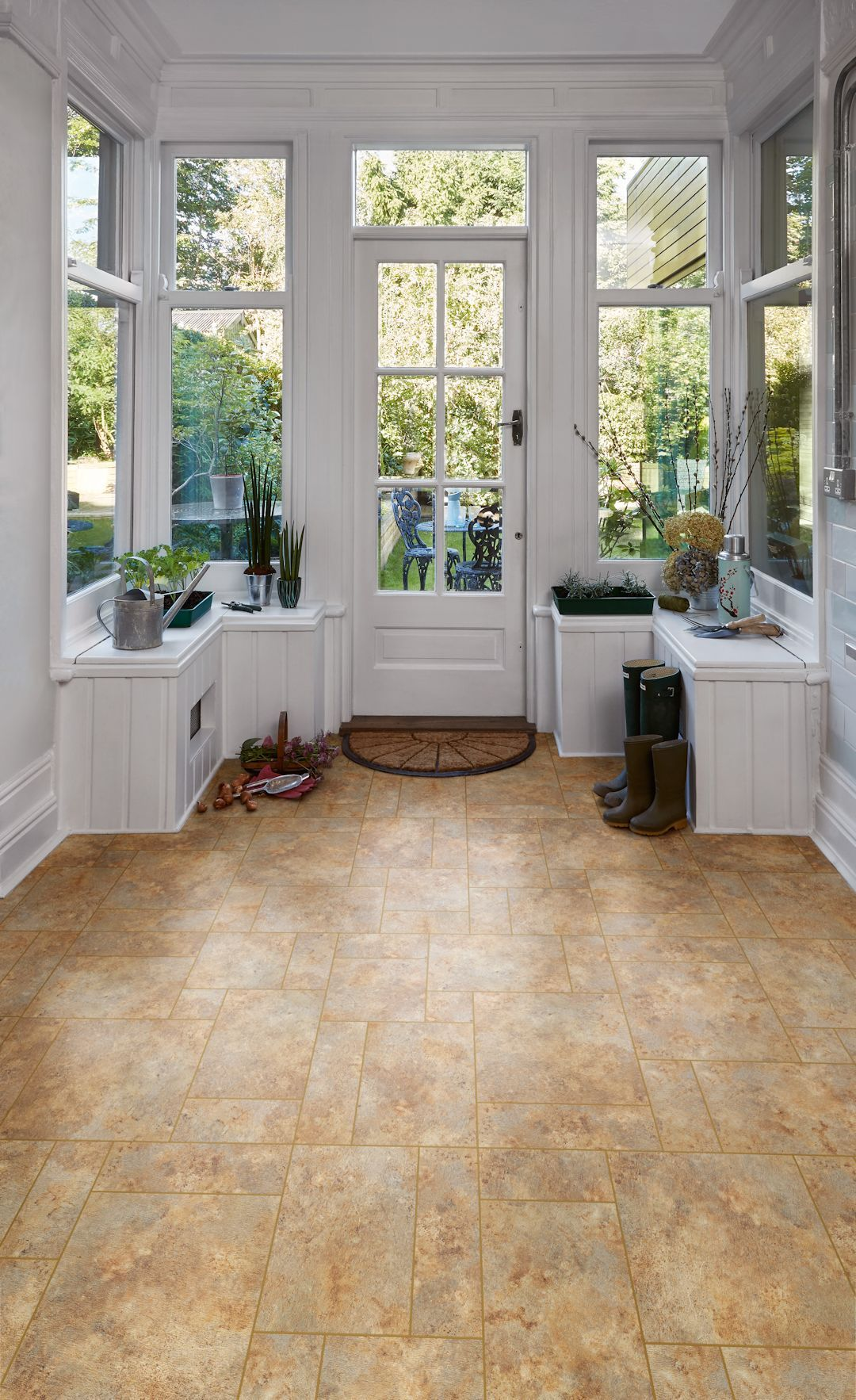 Romano Stone Camaro Luxury Vinyl Tile Flooring In An Assorted Paving