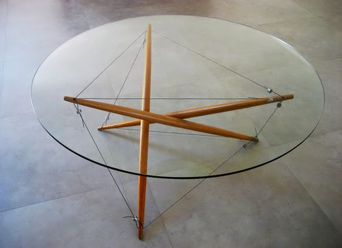 Photo of 3 strut tensegrity coffee table