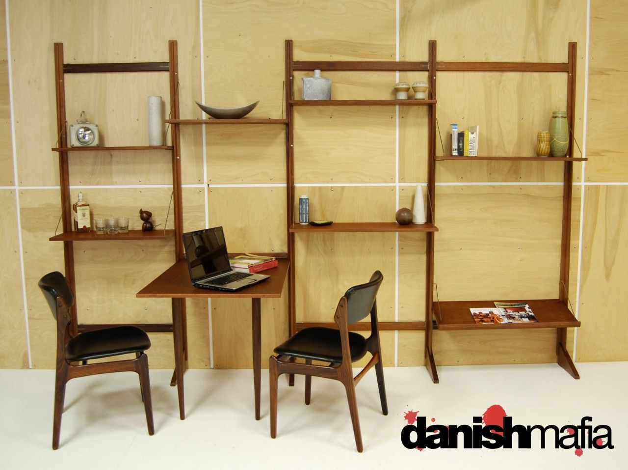 MID CENTURY DANISH MODERN TEAK CADO Wall Shelving System Display ...