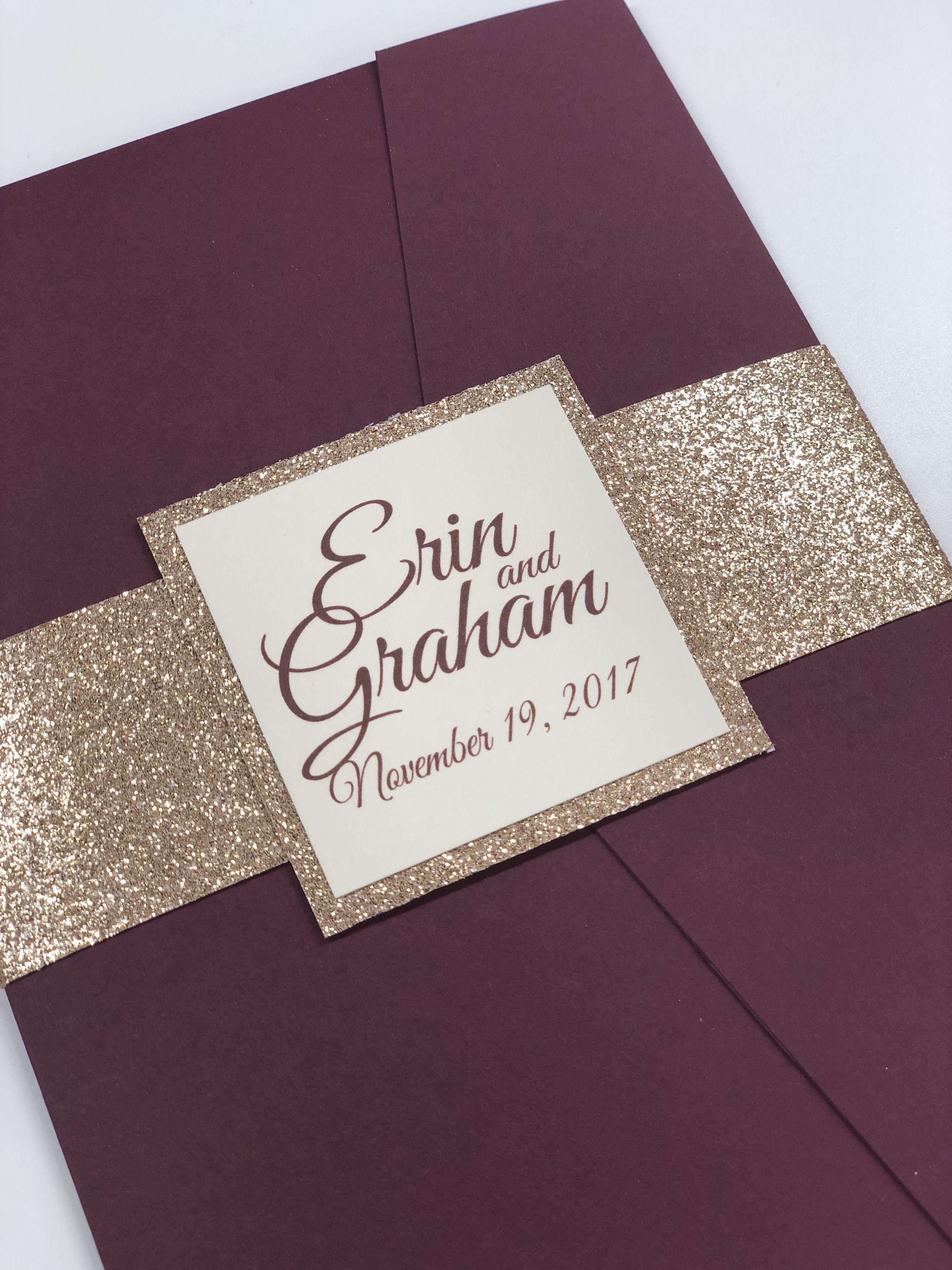 Handmade Personalised Pocket Fold Wedding Invitations Glitter Bow Inserts RSVP