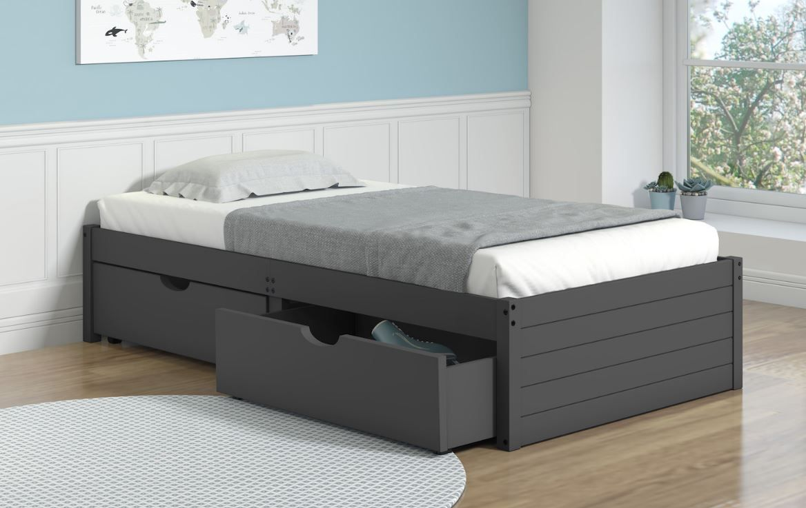 Twin Dark Grey Bed With Dual Under Bed Drawers Donco 400 Tdg 505 Dg In 2021 Bed With Drawers Under Bed Drawers Twin Bed With Drawers Low to the ground twin bed
