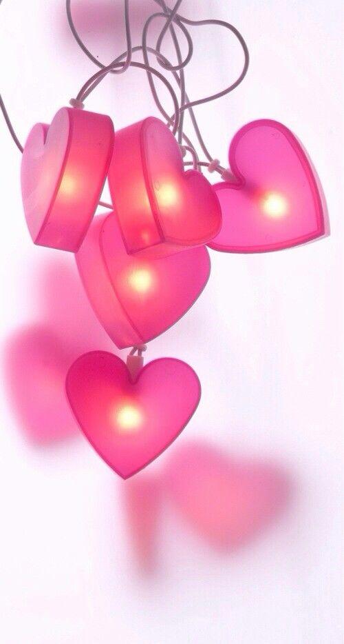 Valentines Pink Heart Fairy Lights #valentines #pink #hearts #lights #inspiration