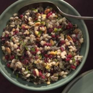 Barley & Wild Rice Pilaf with Pomegranate Seeds