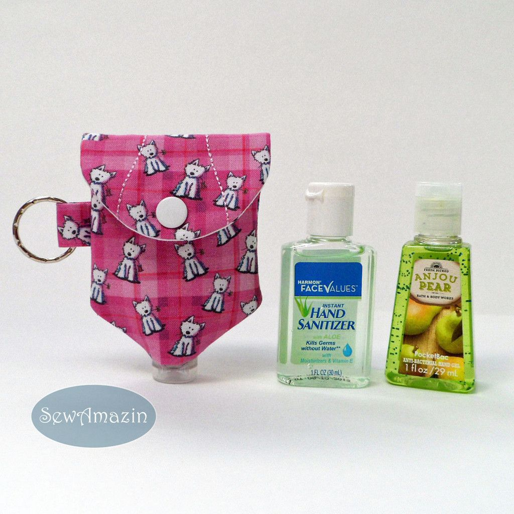 Pink Plaid Westies Hand Sanitizer Holder With Key Ring Made Of