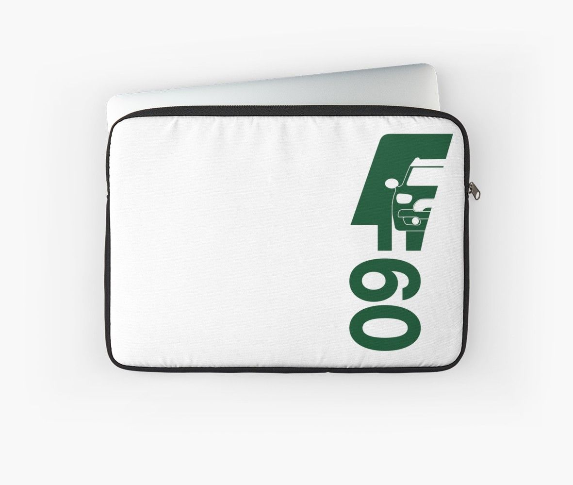 F60 Mini Cooper Countryman Bold And Simple Logo Design In British Racing Green With Drawing Of Car And F60 Text Laptop Sleeve By The Goods Simple Logo Design British Racing Green Simple
