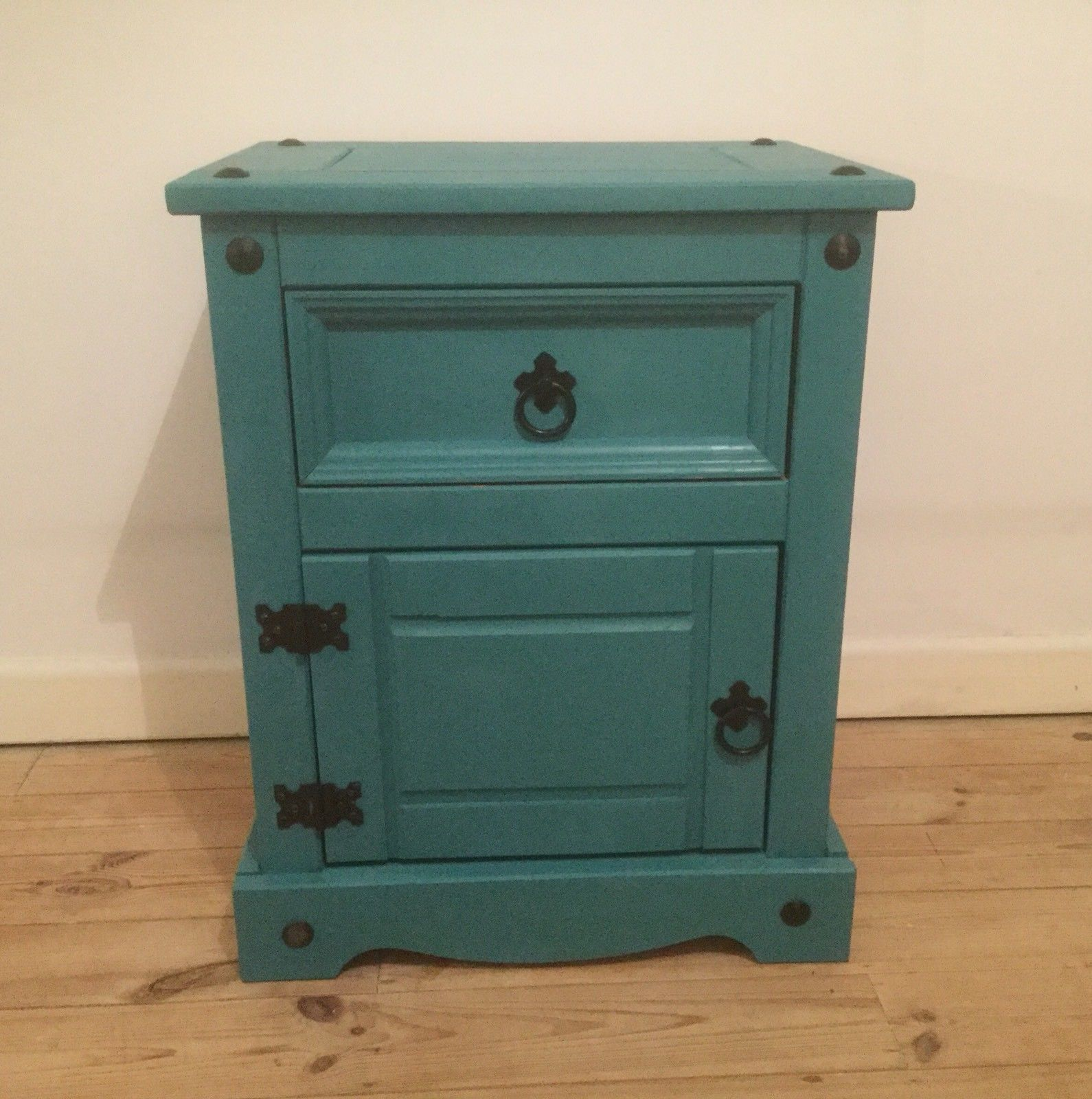 Teal shabby chic Mexican Pine Cabinet   eBay   Pine ...