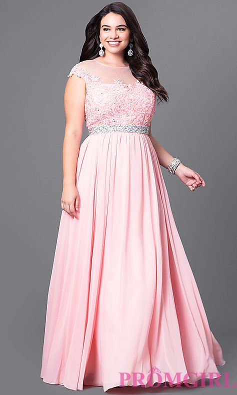 Image of cap-sleeve long plus-size prom dress with lace. Style: DQ ...