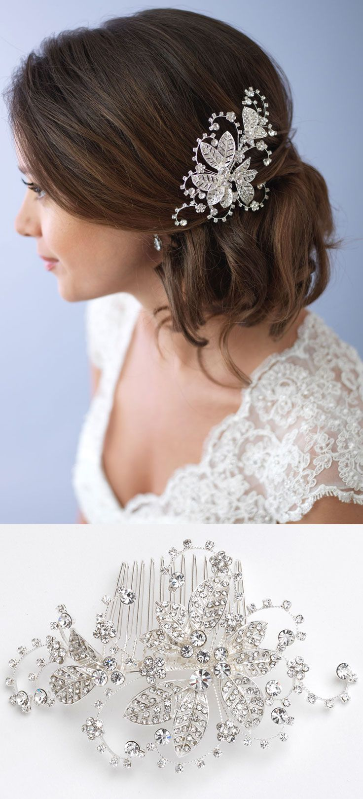 silver floral wedding clip rests beautifully on this bridal side