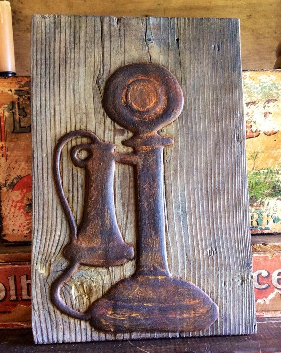 Old School Candlestick Telephone On Old Barn board made from clay wall art