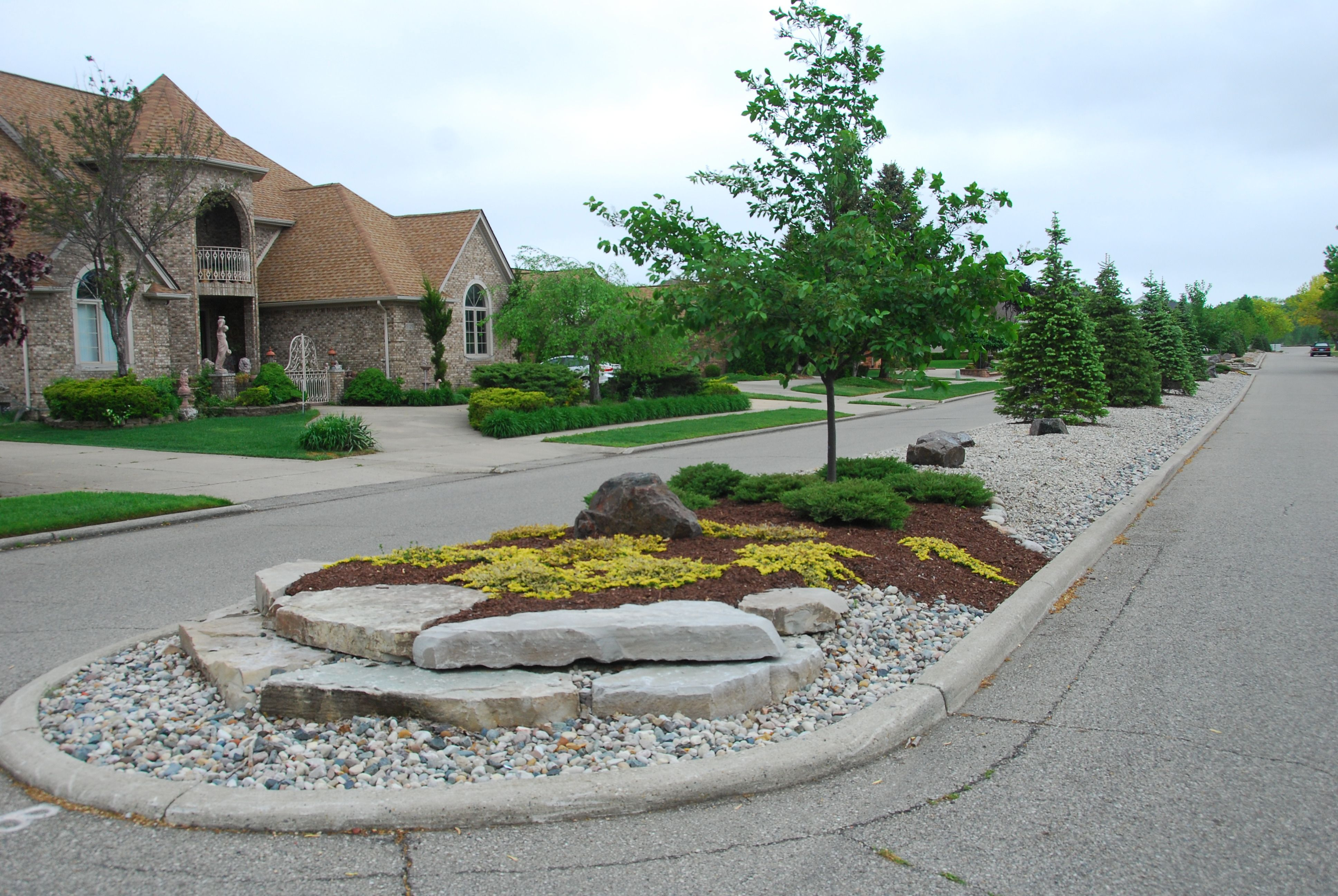 Subdivision Landscape Island With Images Landscaping Entrance Subdivision Entrance Commercial Landscaping