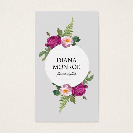 Modern Circle Floral Wreath Gray Business Card Zazzle Com Design Business Card Ideas Business Card Design Floral Business Cards