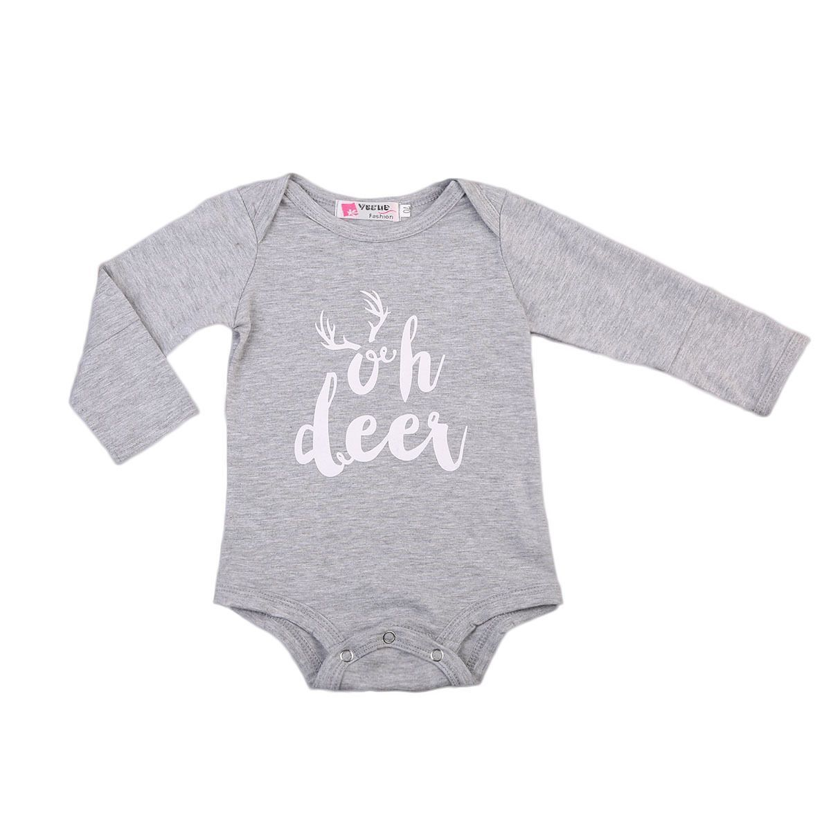 33ac1ee4 Newborn Infant Baby Girls Boys Romper Long Sleeve Deer Jumpsuit Outfits Sun  suit Clothes