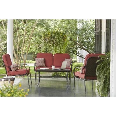 Hampton Bay Fall River 4 Piece Patio Seating Set With Dragon Fruit  Cushions DY11034