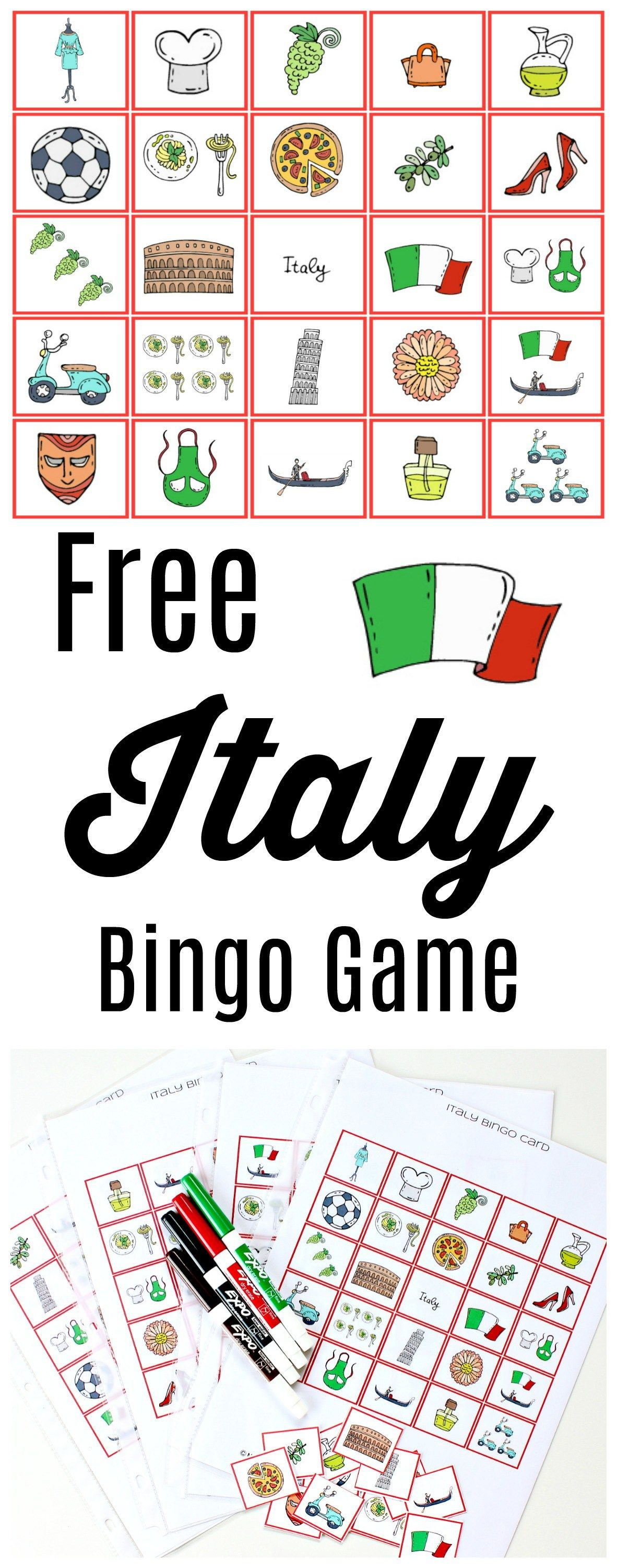 Free Italy Bingo Game Printable Activity For All Ages