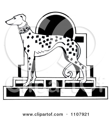 Clipart black and white art deco styled dalmatian dog royalty free illustration by loopyland