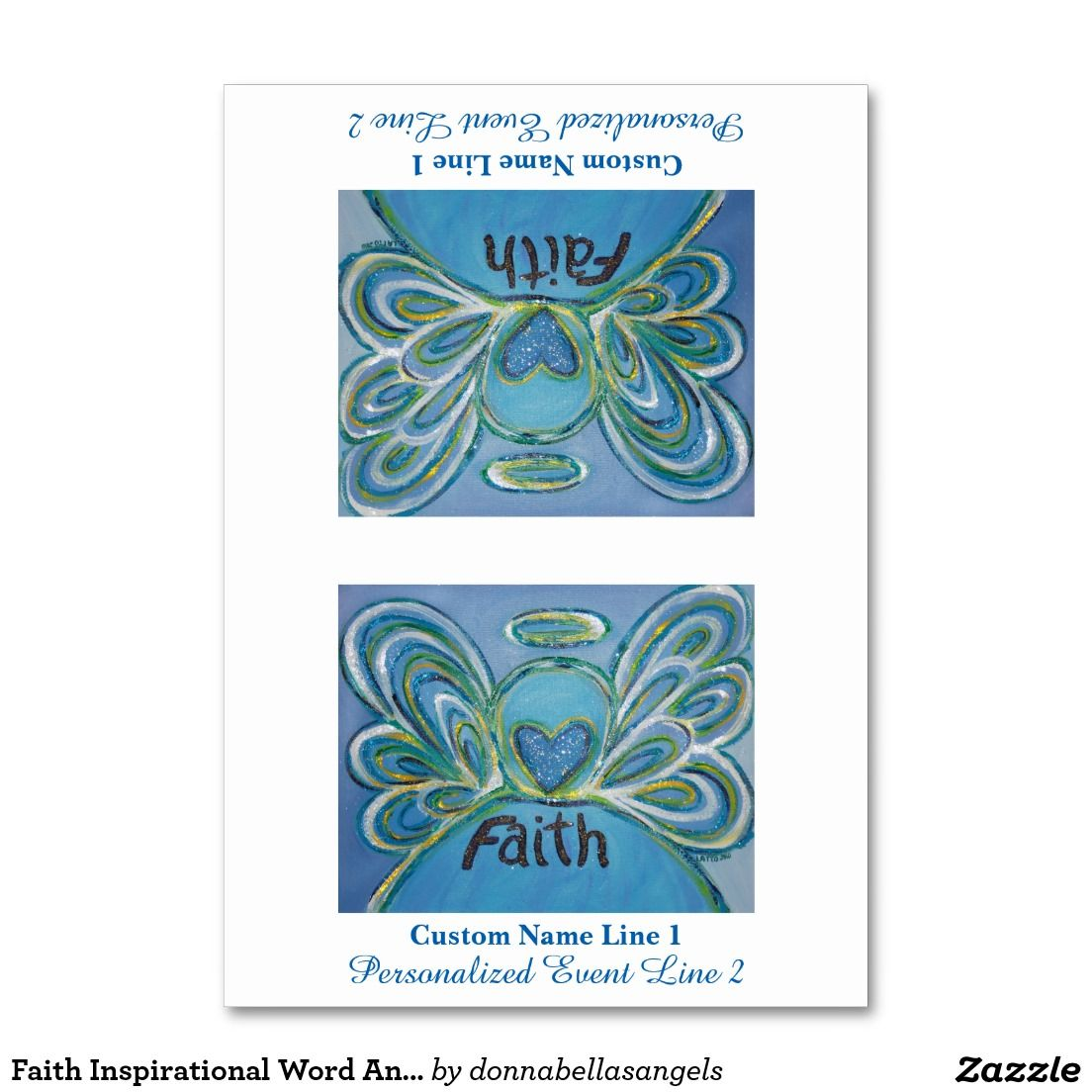 """#Faith Inspirational Word Angel Table Tent Card - The word for """"Faith"""" is painted in shades of soft blues with yellow and green accents. The acrylic painting has a textural contrast and sparkle from a light layer of glitter. Name and/or event information will appear on both sides of the card once folded into a table tent. Create your own unique one-of-a-kind table tent card design by customizing these template inspirational word angel table cards for your wedding or party event!"""