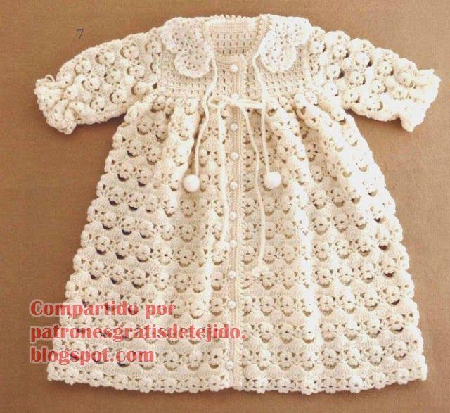 Patrones y moldes de tapado de bebé al crochet | Manualidades ...