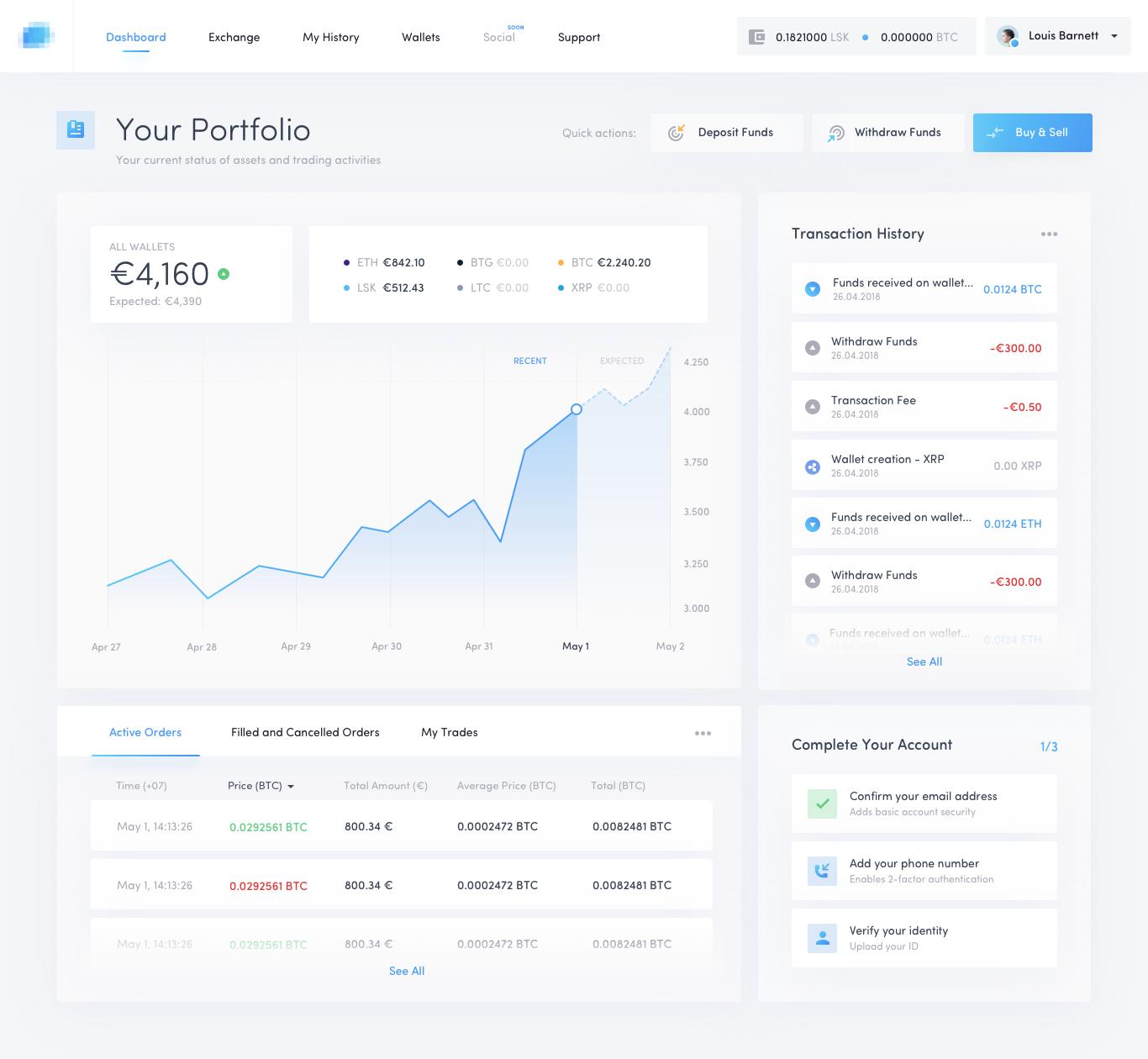 Crypto Exchange Portfolio Full Investing In Cryptocurrency Cryptocurrency Web Design