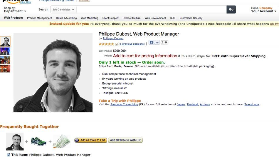 Fake Amazon Page Is Best Online Resume Ever Online Resume Resume Web Marketing