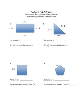 Perimeter Of Polygons Like Terms Substitution And Solving