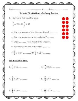 Go Math Practice - 5th Grade 7.1 - Find Part of a Group ...