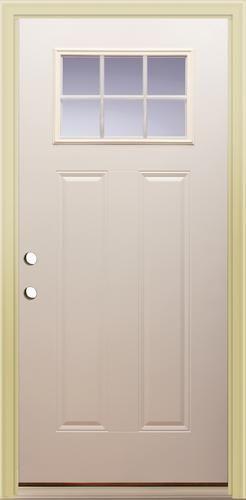 Mastercraft e 214 embossed 36 x 80 primed steel 6 lite prehung exterior door right inswing for Mastercraft prehung interior doors