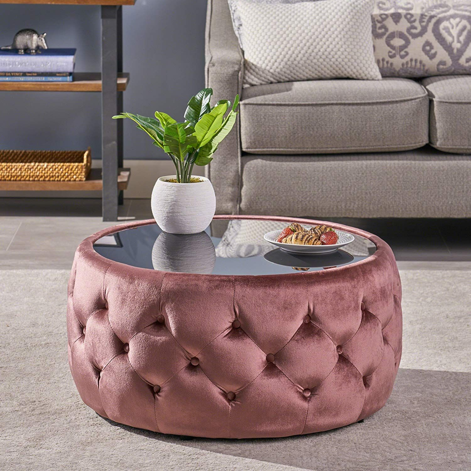 Eva Glam Velvet And Tempered Glass Coffee Table Ottoman Blush Ottoman Table Ottoman Coffee Table Coffee Table [ 1500 x 1500 Pixel ]