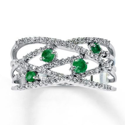 Jared Natural Emerald Ring 15 ct tw Diamonds 10K White Gold