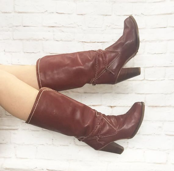 1a7c0a90b34 Vintage 70s Zodiac Oxblood Red Brown High Heel Campus Boots Braided ...
