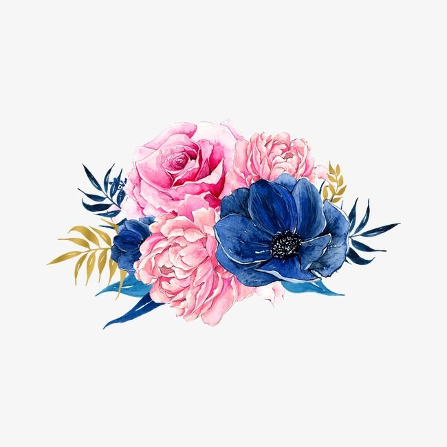 Flowers Pink Blue Png Transparent Clipart Image And Psd File For