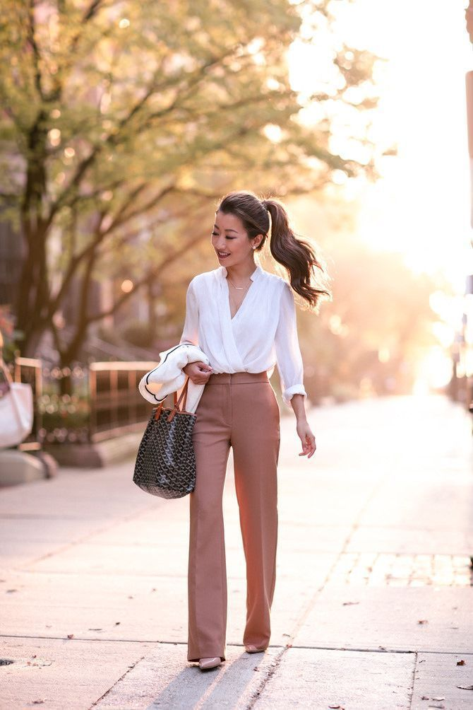 Fall business professional outfit flare trousers_extra petite boston