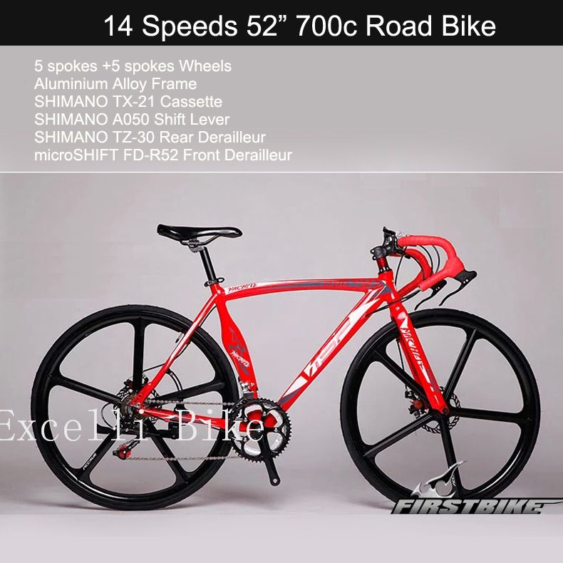 Excelli Bike14 Speeds 700c Bicicleta 5 5 Spokes Wheels Disc Brake