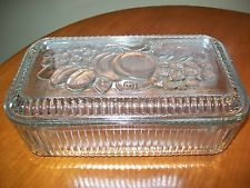 Vintage Federal Glass Refrigerator Jar Container Dish Rectangular Fruit Design
