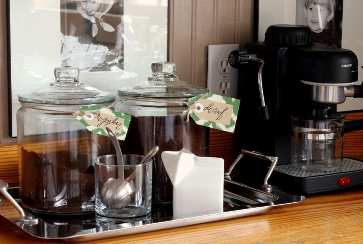 coffee area in the kitchen (Our Kitchen Goes Green » Talk of the House)