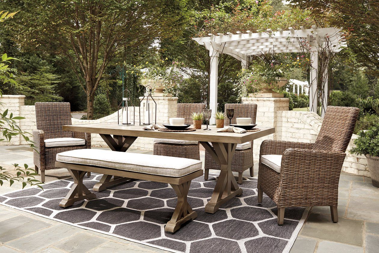 Beachcroft 6 Piece Outdoor Seating Package Ashley Furniture Homestore Outdoor Dining Set Outdoor Dining Table Outdoor Dining