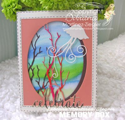 Stamping with Bibiana: Celebrate! Summer is almost Here! dies memory box, background made with zig clean watercolor brushes kuretake