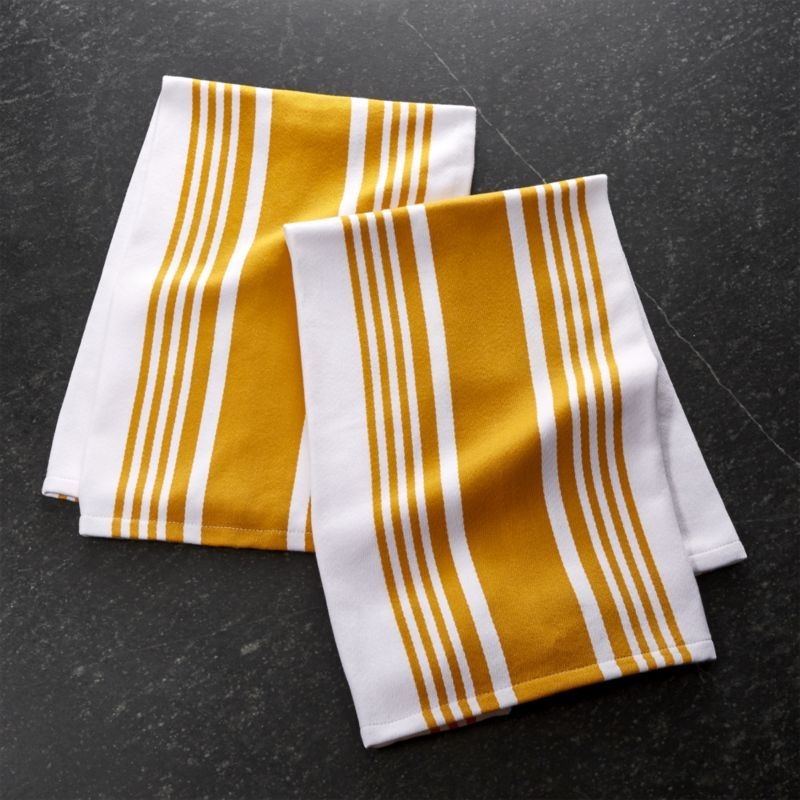 Shop Cuisine Stripe Yellow Dish Towels, Set Of 2. Simple Kitchen Classics  In Quality Cotton Are Striped Thick And Thin In Golden Yellow.