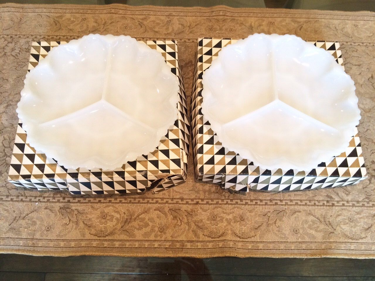 2 Milk Glass Anchor Hocking White Divided Dishes with Original Boxes by TwoBeContinued on Etsy https://www.etsy.com/listing/238525088/2-milk-glass-anchor-hocking-white