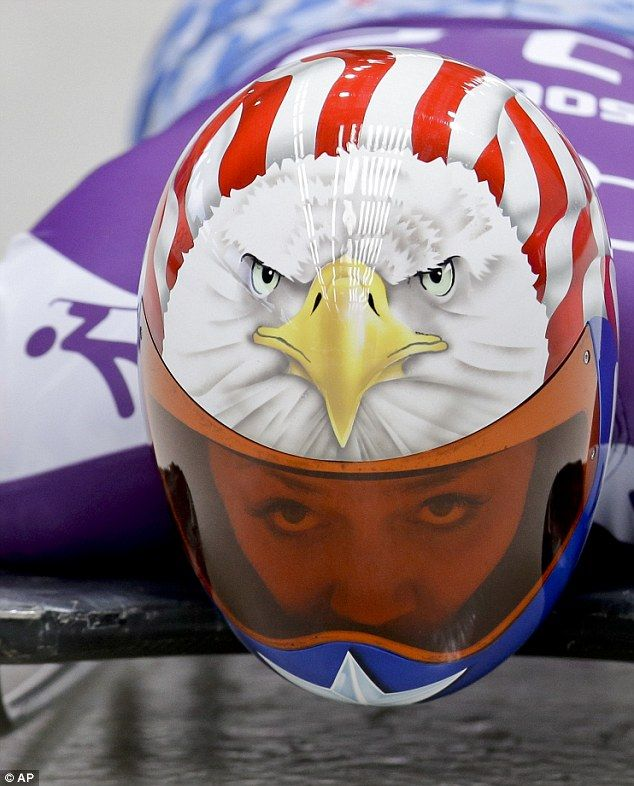 Katie Uhlaender of the United States plumped for an eagle on her helmet, decorated with stars and stripes.