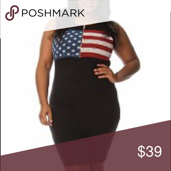 HP* Plus Size American Flag Print Bodycon Dress Boutique | Flags ...