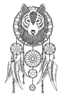 Wolves Dream Catcher Coloring Pages