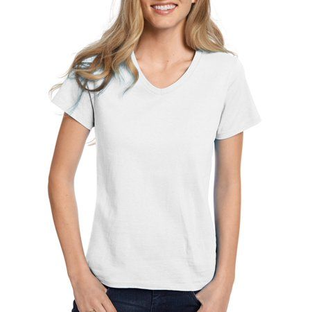 Hanes Relaxed Fit V-neck T-Shirt ComfortSoft Women/'s Tops Tagless Cotton Short