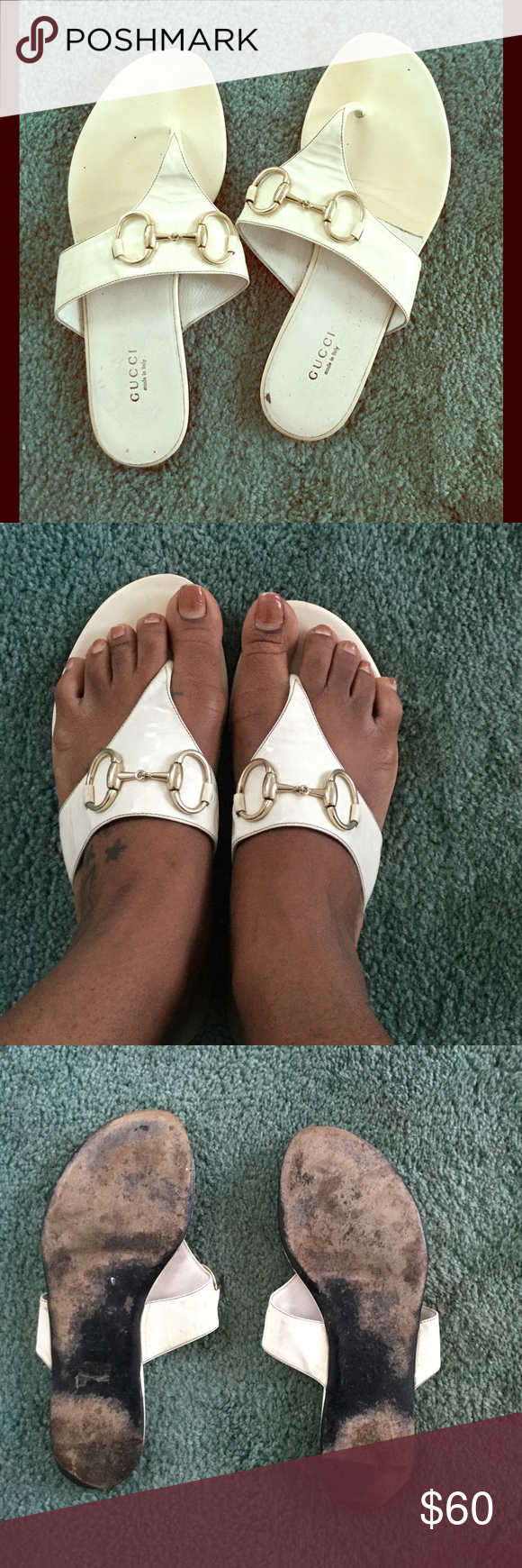 eea4e78b8d5 AUTHENTIC GUCCI Sand Pelle S Cuoio Sandals Authentic Woman s Gucci Sandals  with classic gold buckle. Color Great white