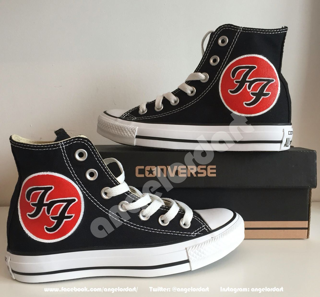 Walking dead converse shoes for sale - Custom Painted Foo Fighters Converse Hi Tops Shoes Sneakers Facebook Com Angelordart