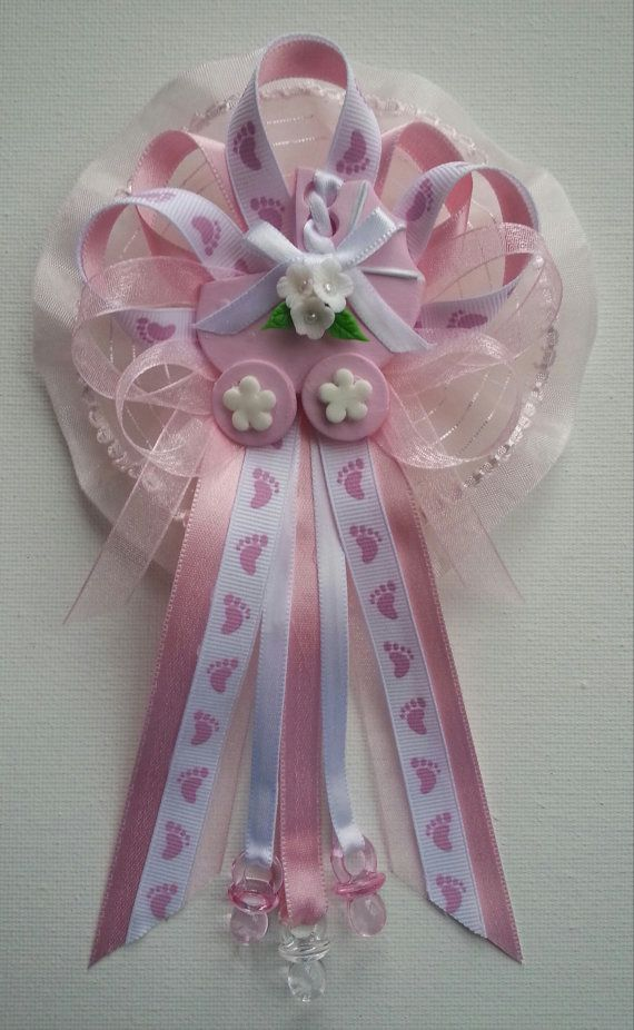 Pink Baby Shower Mommy Corsage With Carriage Centerpiece By Fancy