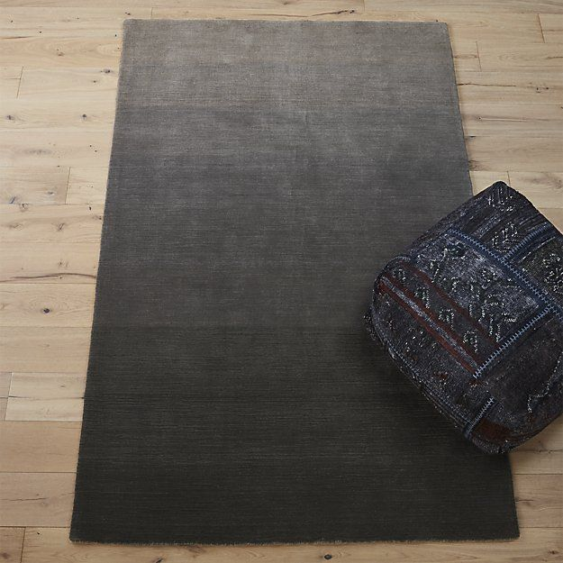 Shop ombre grey rug 6'x9'.   Handloomed from soft New Zealand wool, plush shades of grey run the spectrum from light to dark creating a variegated ombre effect.